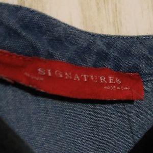 Signature8 Pants & Jumpsuits - Signature8 Denim Chambray Ruffled Jumpsuit SizeM